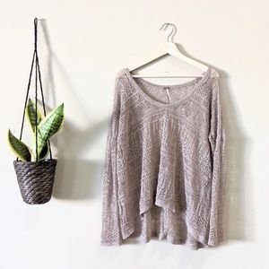 Free People Taupe Brown Open Knit Pullover Sweater